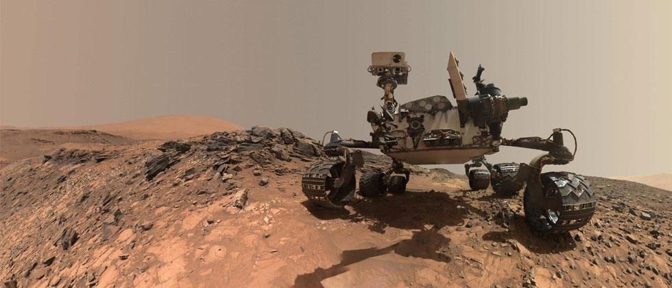 """NASA photo released June 7, 2018 shows a low-angle self-portrait of NASA's Curiosity Mars rover vehicle at the site from which it reached down to drill into a rock target called """"Buckskin"""" on lower Mount Sharp. AFP Photo/NASA"""