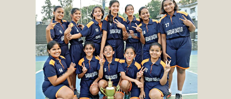 Players of Sardar Dastur School pose with their trophy