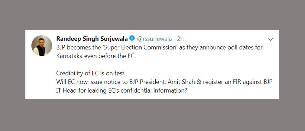 BJP is 'Super Election Commission', says Cong after poll date leak