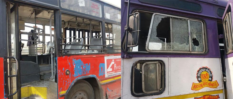 PMPML and MSRTC buses pelted with stones by miscreants at Phursungi, Pune