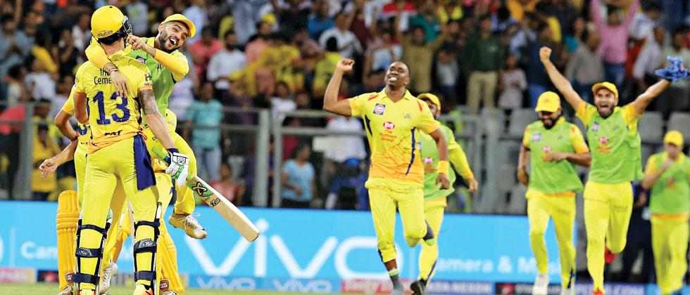 Chennai Super Kings players celebrate after beating Sunrisers Hyderabd during their IPL Qualifier 1 at the Wankhede Stadium in Mumbai