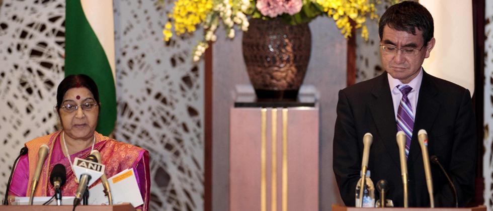 Swaraj meets Japanese PM Abe, conveys PM Modi's greetings