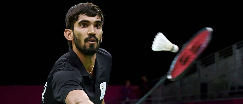 India's Srikanth returns to Aatish Lubah of Mauritius during Badminton men's singles first round match at the Commonwealth Games 2018 in Gold Coast, Australia on Wednesday. Manvender Vashist/PTI