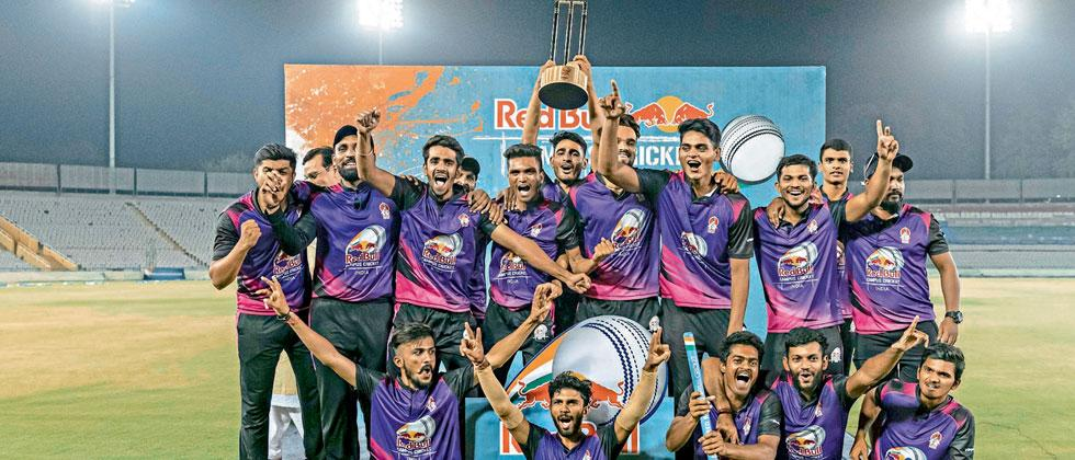Marathwad Mitramandal College of Commerce team pose with the trophy after winning national final of the Red Bull Campus Cricket in Mohali
