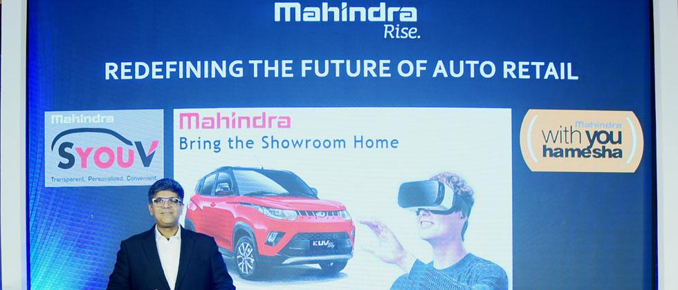 Veejay Ram Nakra, Chief of Sales and Marketing, Automotive Division, M&M Ltd at the launch of 'Bring the Showroom Home',  an immersive Virtual Reality experience and an industry first initiative in the automotive retail space