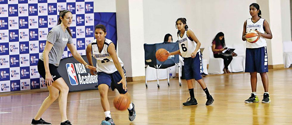 Olympic gold medallist and WNBA champion Ruth Riley coaching Indian girl prospects at NBA Academy India in Greater Noida on Friday