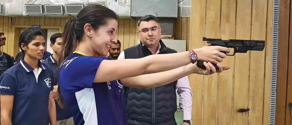 Olympic medallist Narang gives shooting tips to Marin