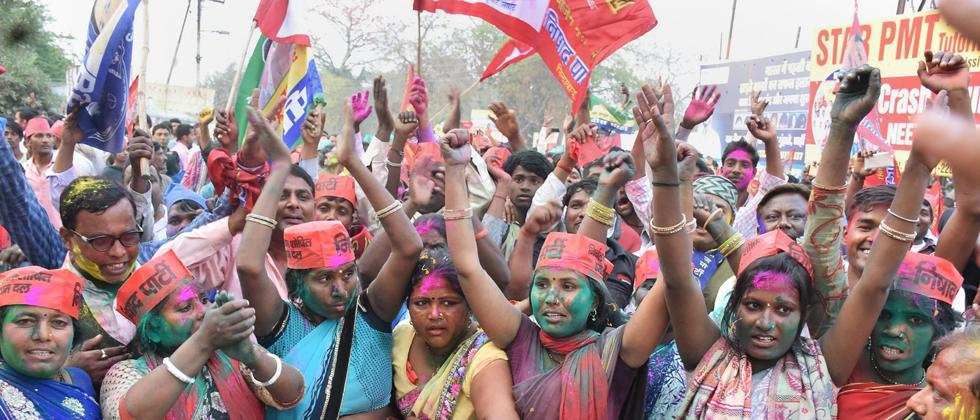 Samajwadi Party member celebrate the success of their party in the Lok Sabha bypoll elections, in Gorakhpur on Wednesday. PTI photo