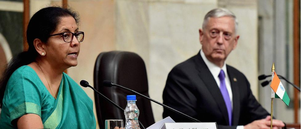 Defence Minister Nirmala Sitharaman and U. S. Defence Secretary Jim Mattis during their joint press conference at South Block in New Delhi on Tuesday. PTI Photo