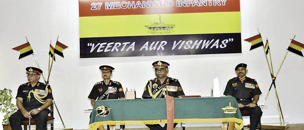 Southern Army Commander Lt Gen P Mohammed Hariz at the raising ceremony of the 27th Battalion of the Mechanised Infantry at Bhusaval on July 17.