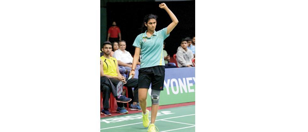 Ruthvika Shivani G celebrates after winning the women's singles title at Modern Sports Complex on Sunday.