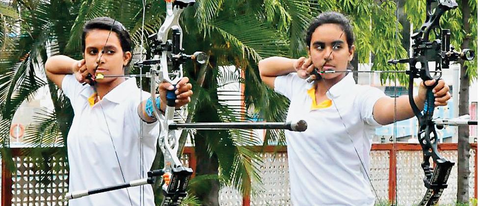 Divya (right) and Khushbu Dhayal undergo training.