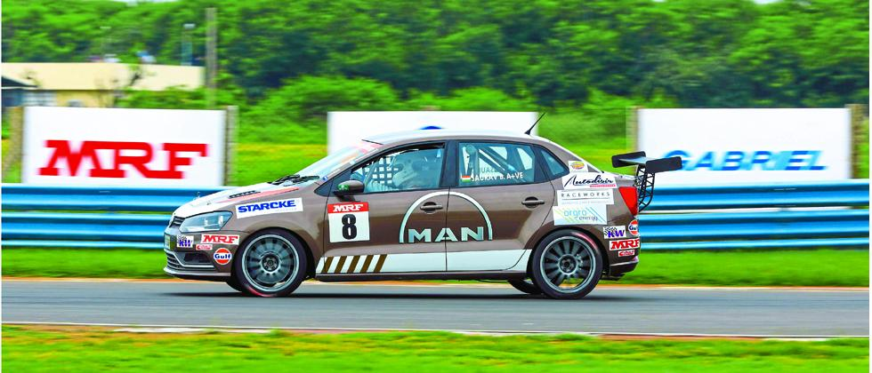 Saurav Bandyopadhyay in action at Madras Motor Race Track on Saturday.