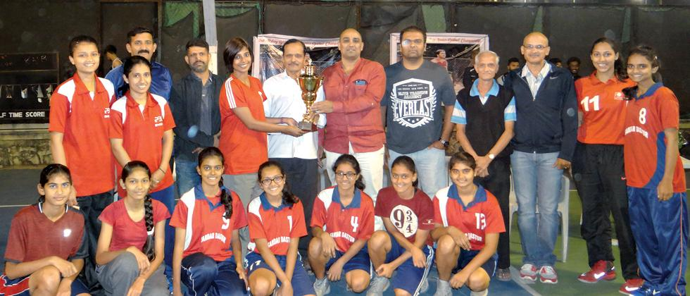 Sardar Dastur girls team pose for a picture after winning 3rd Akshay Bhosale Cup Senior District Basketball Championship at Deccan Gymkhana.