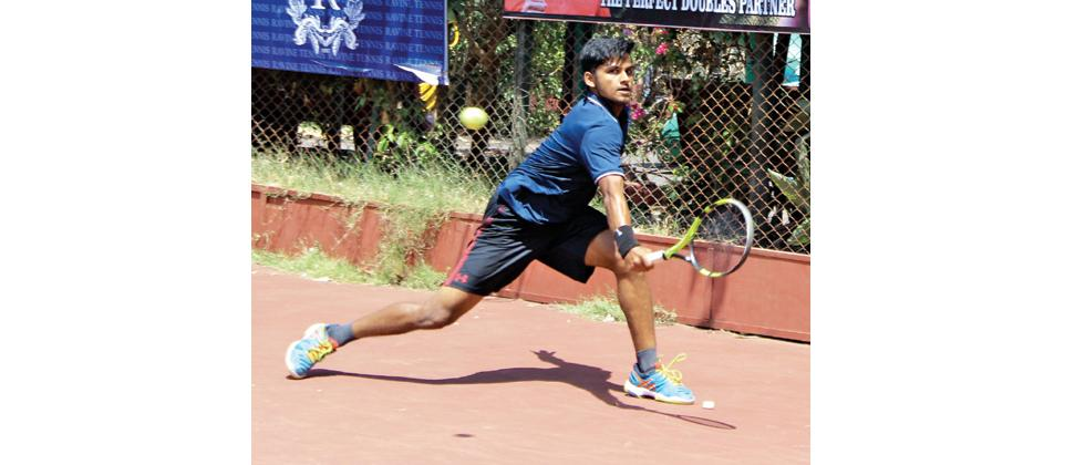 Dheeraj KS in action during the final qualifying round of the MSLTA Hotel Ravine All India Ranking 2 Lakhs Men and Women Tennis Tournament at Ravine Hotel tennis courts.