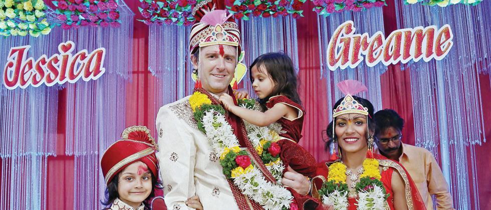 Adopted girl Jessica Kamalini Lindher (bride) with her husband Greame Stuart Cokayne (groom), son Johan (converted to Indian name Rajendra) and Karita (Rashi).