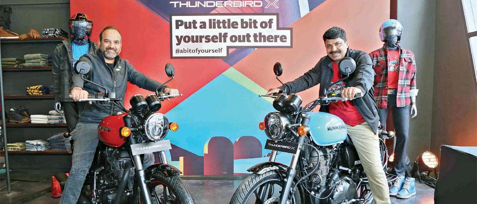 Rudratej Singh, President Royal Enfield and Shaji Koshy, Head India+ Business, Royal Enfield at the launch of Thunderbird X in New Delhi