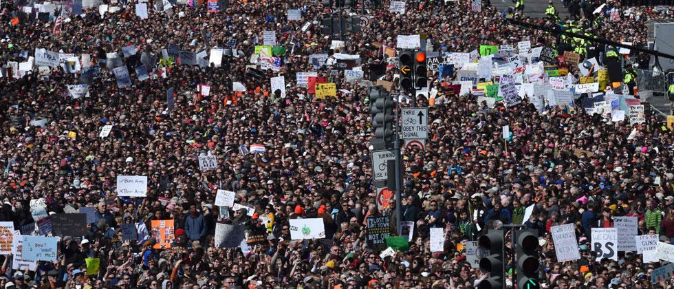 Crowds gather during the March for Our Lives Rally in Washington, DC on March 24, 2018. Photo/Nicholas Kamm/AFP