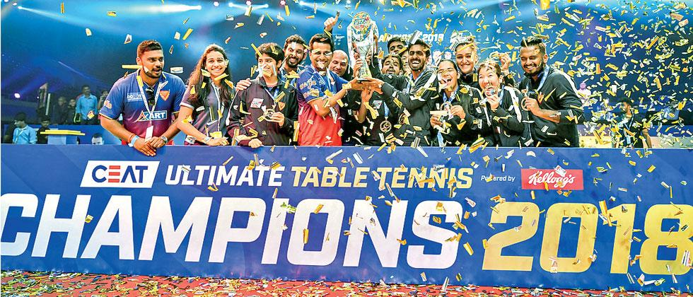Dabang Smashers celebrate after winning the final of the Ultimate Table Tennis League in Kolkata