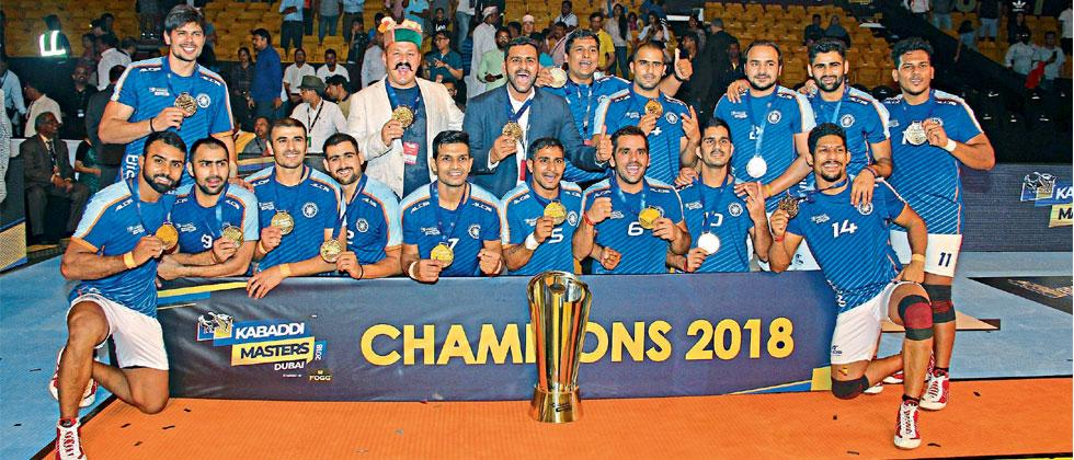 Indian team poses with the trophy after defeating Iran in final of Kabaddi Masters at Al Wasl Sports Club in Dubai