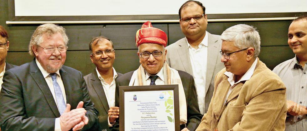Polymer expert S Radhakrishnan being awarded by the Environmental Club of India on Tuesday at Sumant Moolgaonkar Hall in MCCIA Towers on Senapati Bapat Road. Parag Jadhav/Sakal Times