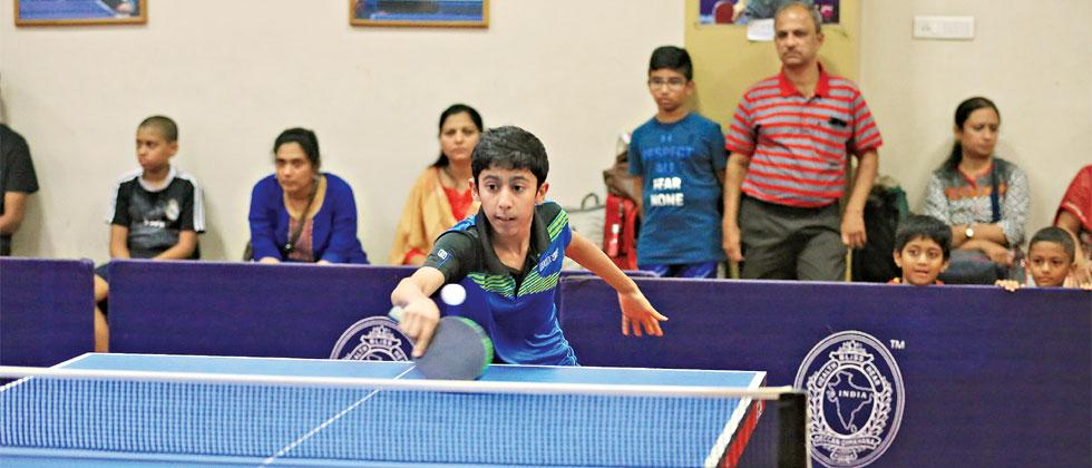 Aryan Panse in action against Aarush Galpalli during the Players Cup Table Tennis tournament at Deccan Gymkhana on Tuesday