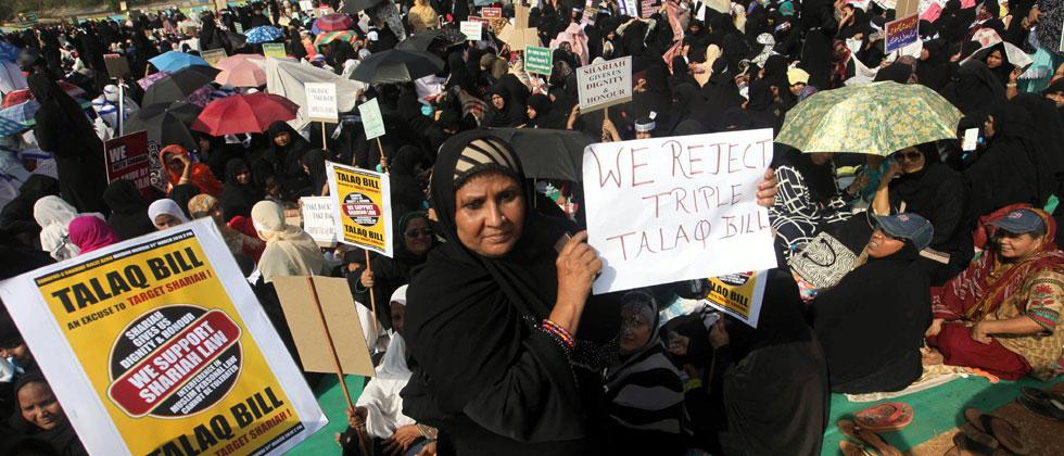 "Muslims women gathered in large numbers at Azad Maidan, Mumbai to protest against the ""Talaq Bill"" - Muslim Women (Protection of Rights on Marriage)  Bill, 2017 which currently pending in the Rajya Sabha. Photo/Prashant Sawant"