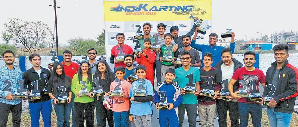 The winners of various categories of the season-ending Indi-Karting Go Kart race at Kharadi circuit
