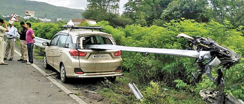 The accident site at Somatane on the Mumbai-Pune Expressway on Tuesday.