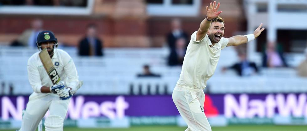 England's James Anderson celebrates the wicket of India's Ishant Sharma for a duck on the second day of the second Test cricket match between England and India at Lord's Cricket Ground in London on Wednesday