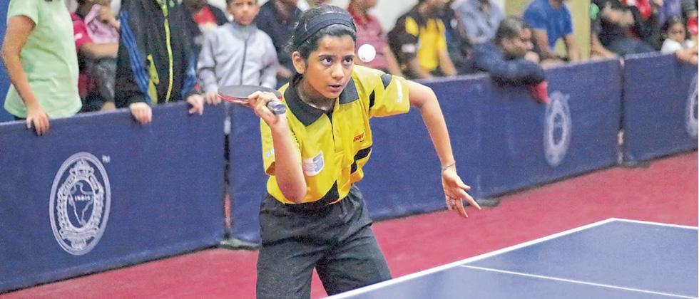 Radhika Sakpal in action against Devyani Kulkarni at Deccan Gymkhana on Sunday.