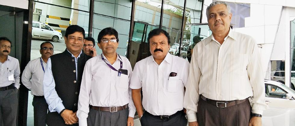 AAI Chairman Guruprasad Mohapatra (second from right), Keshava Sharma, Regional Executive Director (extreme right), Western Region, Pune Airport Director Ajay Kumar, Ahemdabad Airport Director Manoj Gangal (extreme left) during the review meeting.