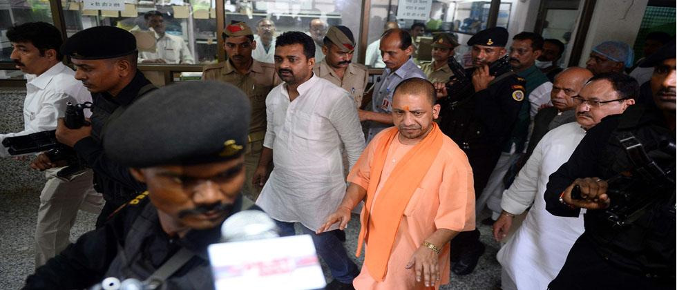 Chief Minister of Uttar Pradesh (UP), Yogi Adityanath walks out after visit the Baba Raghav Das Hospital in Gorakhpur, in the northern Indian state of Uttar Pradesh, on August 13, 2017.