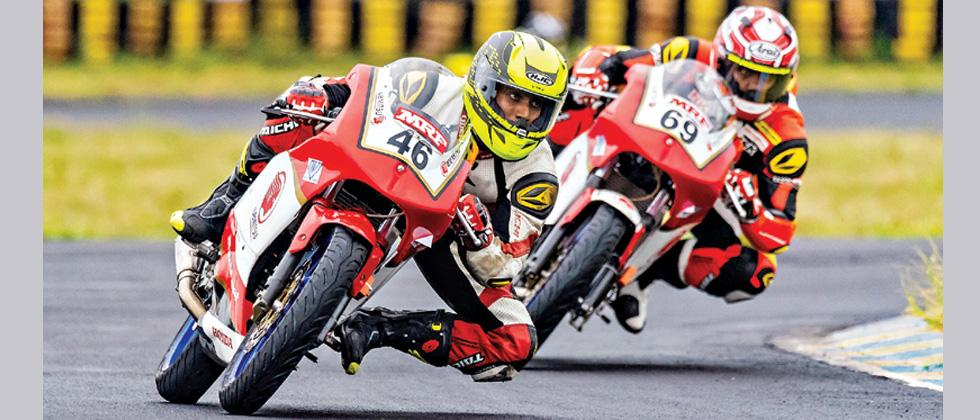Honda Riders during Round 1 of the India National Motorcycle Racing Championship at MMRT.