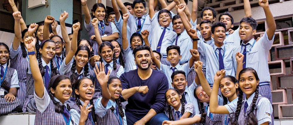 Arjun Kapoor who digitally launched the Girl Rising Game ahead of his 33rd birthday on June 25 rejoices with school children