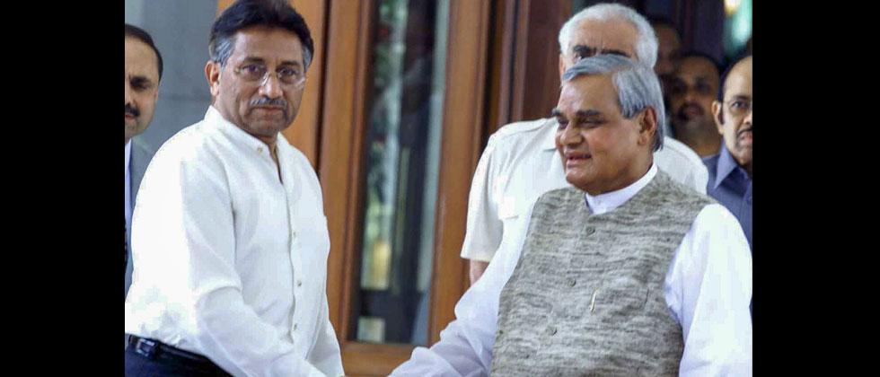In this July 15, 2001, file photo former PM Atal Bihari Vajpayee shakes hands with the then Pakistani President Pervez Musharraf shortly before the start of the Agra Summit in Agra. PTI Photo