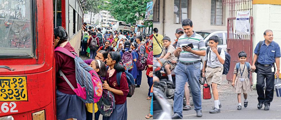 Parents were forced to drop and pick up their children from schools on Friday. Some students travelled by PMPML buses. Anand Chaini/Sakal Times