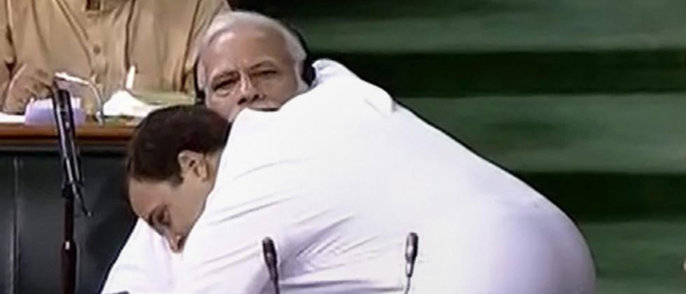 Rahul Gandhi hugs Modi and says this is Congress