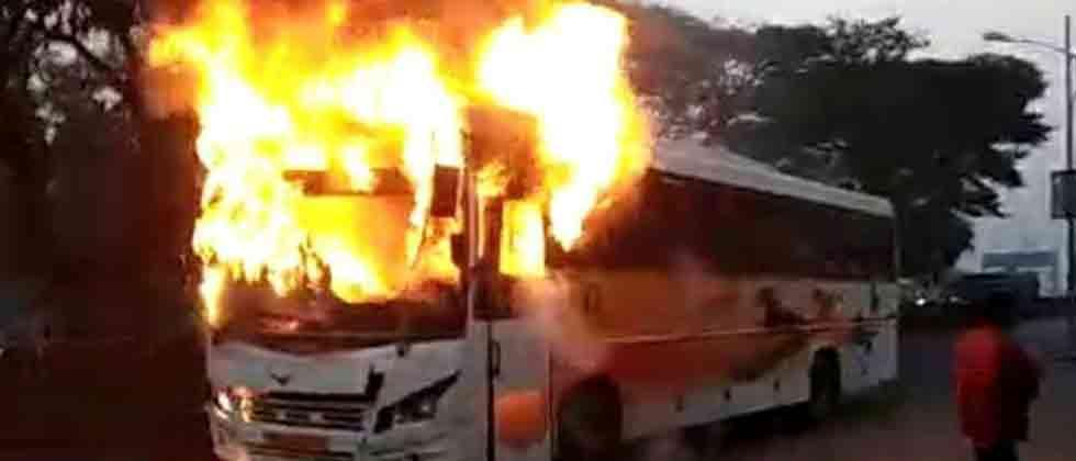 Shivshahi bus catches fire in city; no casualties