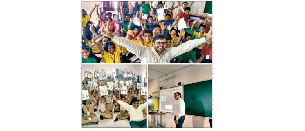 Students after the demo session conducted at the City International School in Kothrud.