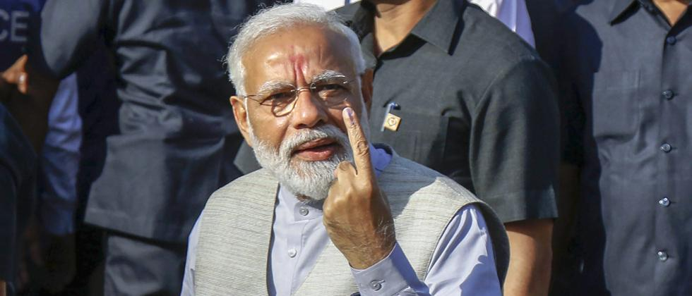 LokSabha 2019: Voter ID more powerful than IED, says Modi after casting vote