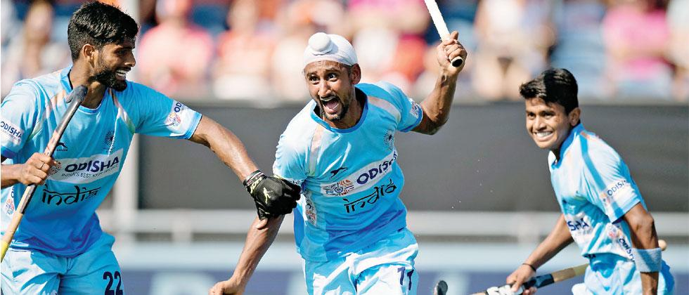 Mandeep Singh celebrates goal against The Netherlands