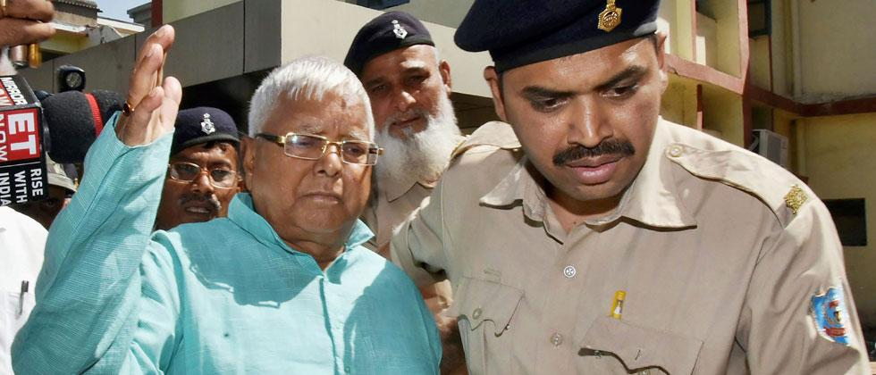 Former Bihar Chief Minister Lalu Prasad Yadav leaves special CBI court after being pronounced guilty in the fourth Dumka multi-crore fodder scam case, in Ranchi on Monday. PTI Photo