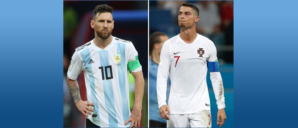 Combination of two files pictures created shows Argentina's forward Lionel Messi and Portugal's forward Cristiano Ronaldo. Roman Kruchinin and Adrian Dennis/AFP