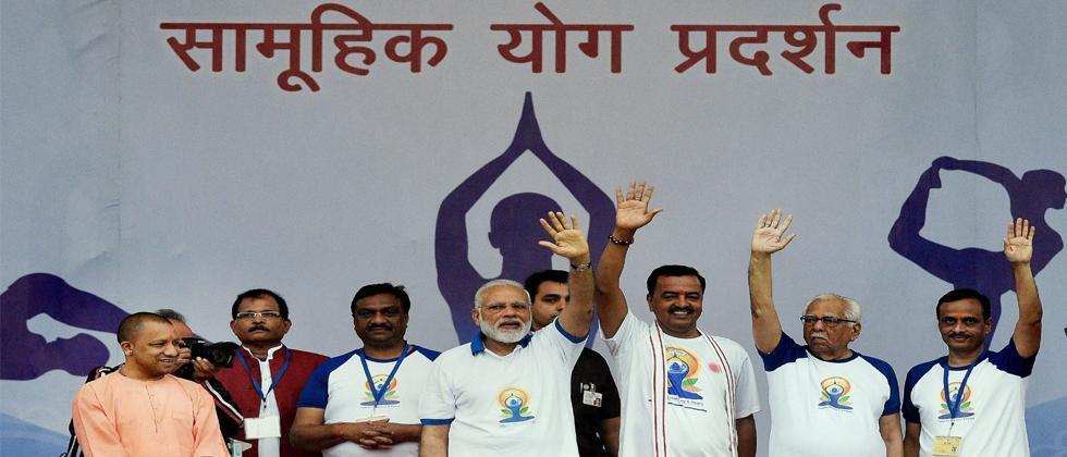 Narendra Modi celebrating International Yoga Day