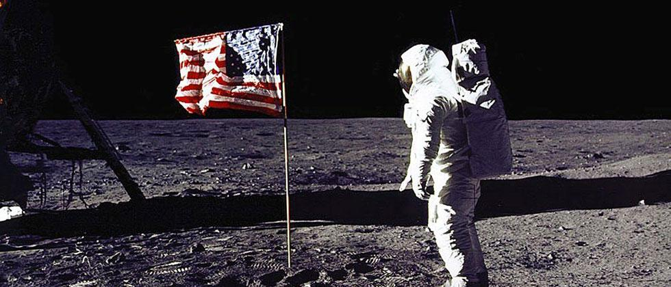 "NASA file photo, July 20, 1969 shows astronaut Edwin E. ""Buzz"" Aldrin, Jr. saluting the US flag on the surface of the Moon during the Apollo 11 lunar mission. Donald Trump directed NASA to send Americans to the Moon to help prepare for a future Mars trip"