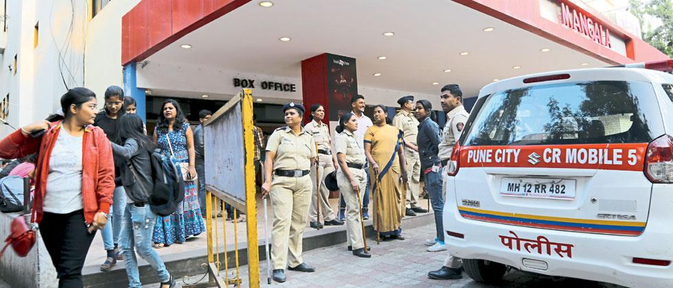 Heavy police security was deployed to maintain law and order at Mangala theater following the release of Sanjay Leela Bhansali's Padmaavat