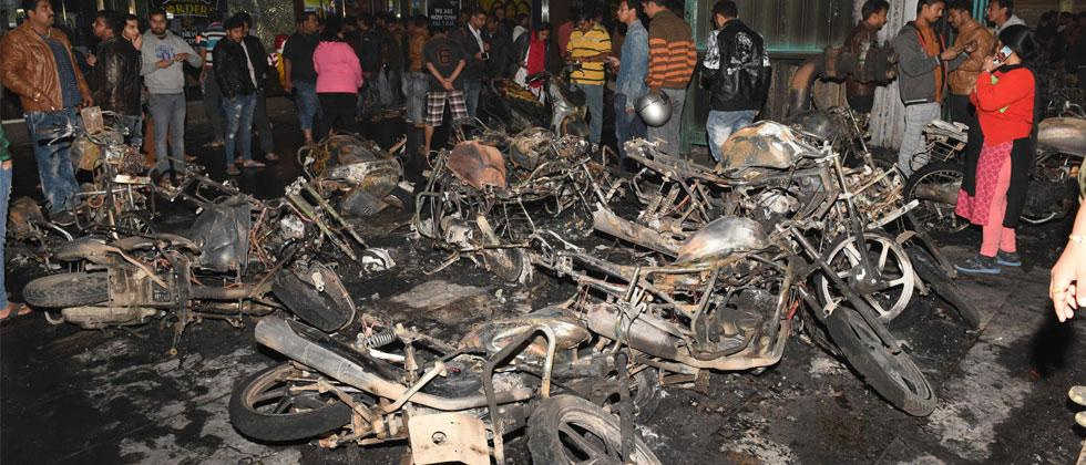 Charred remains of motorcycles burned during protests against Padmaavat on January 23, 2017 at the Himalaya Mall in Ahmedabad