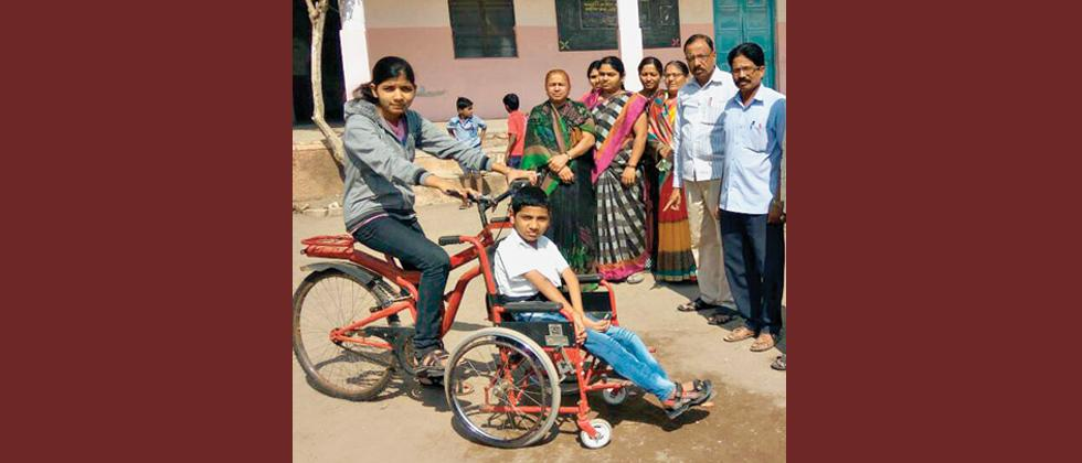 Girl invents cycle for disabled brother