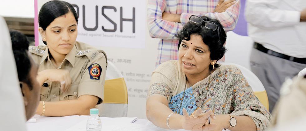 Maharashtra State Women's Commission President Vijaya Rahatkar (R) at Alpa Bachat Bhawan, on Tuesday.